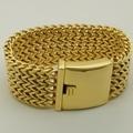 super 3.4cm wide & 174g heavy woven chain  gold plating 316L stainless steel   chain bracelet men jewelry bracelet