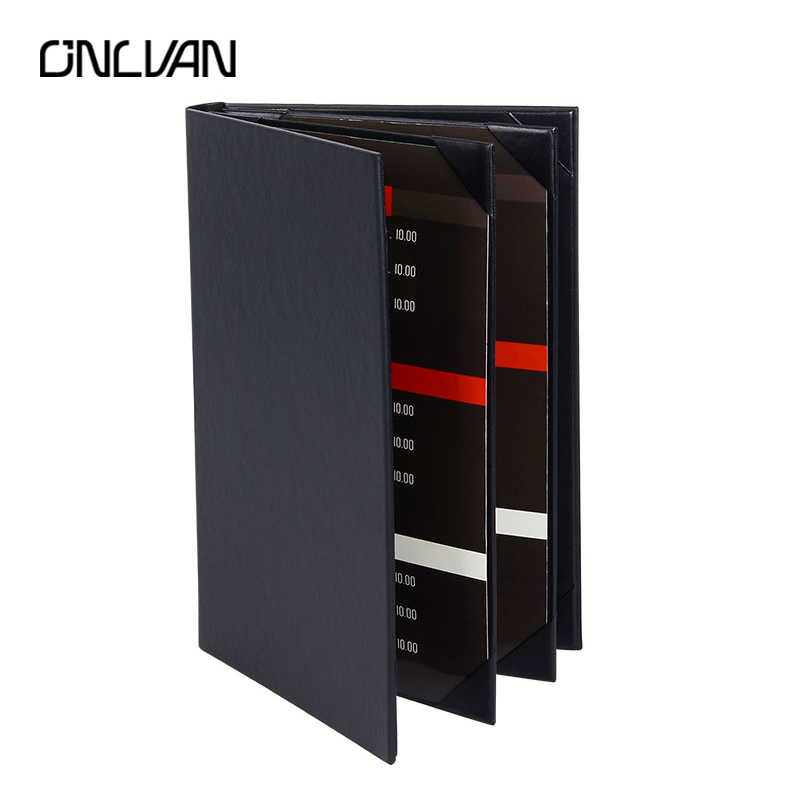 ONLVAN 5pcs/lot High Quality Restaurant Menu covers Wine List Folders PU Leather  Menu Holders Customized Restaurant Equipment brown genuine leather menu holder restautant menu cover money receipt high quality accept customized order print your own logo