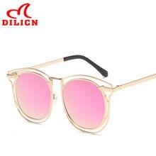 DILICN 2017 Espejo Doble Círculo gafas de Sol de Las Mujeres de Flecha de Metal Rojo Tonos Retro Ronda Gafas de Sol de Los Hombres Gafas de Sol de La Vendimia UV400