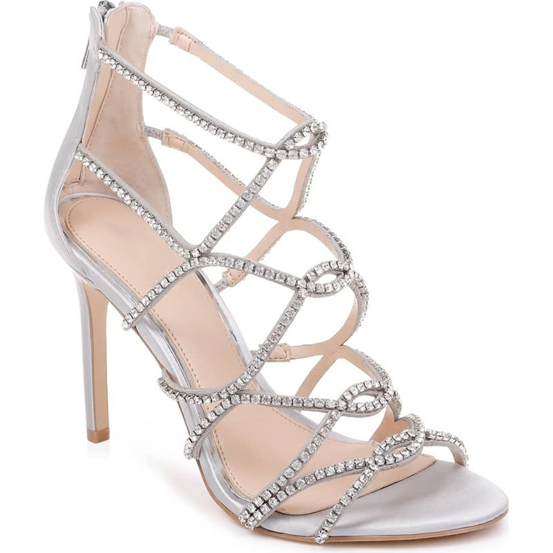 New Summer Crystal Embellished Cage Sandals Luxury Rhinestone Cross Party Sandals Designer High Heels Dress Shoes Women 2019
