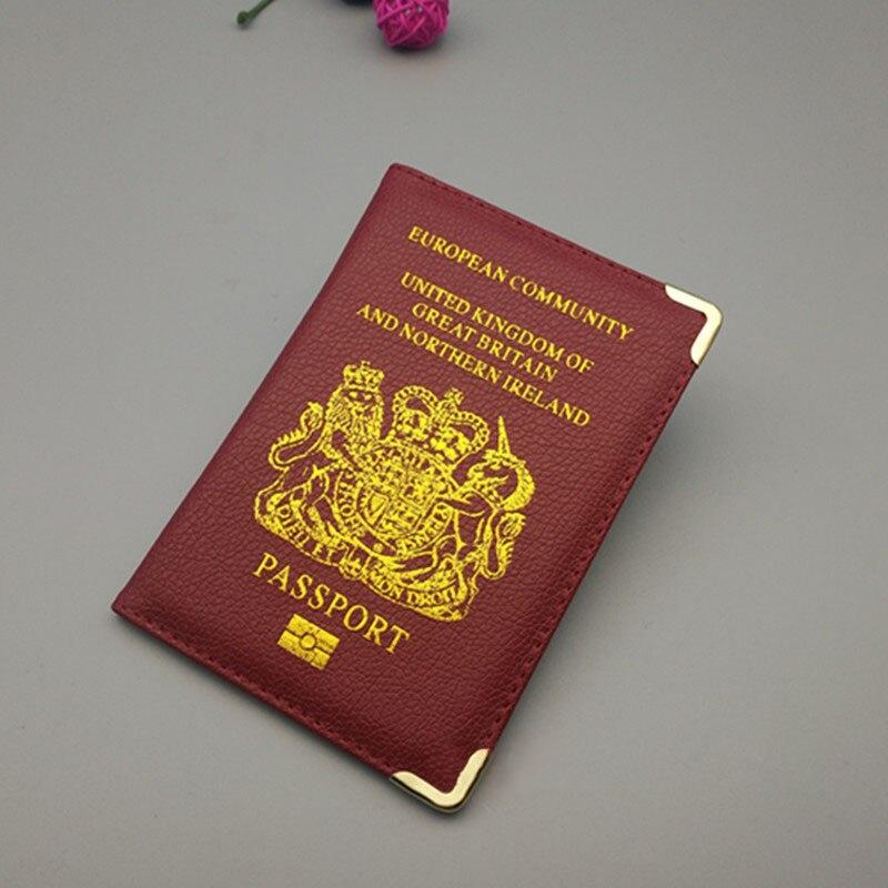 Women Travel Passport Cover UK Pu Leather Pink Case For Passport Girl Fashion United Kingdom Holder Passport Travel Wallet