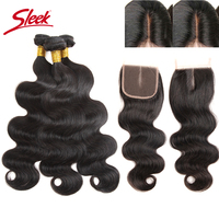 Sleek Hair Peruvian Body Wave 3/4 Bundles & Lace Closure Free Middle Three 3 Part Virgin Human Hair Bundles With Closure