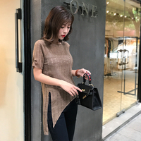 2018 Korean Spring And Summer Students New Irregular Semi Transparent Thin Knit Sweater In The Long
