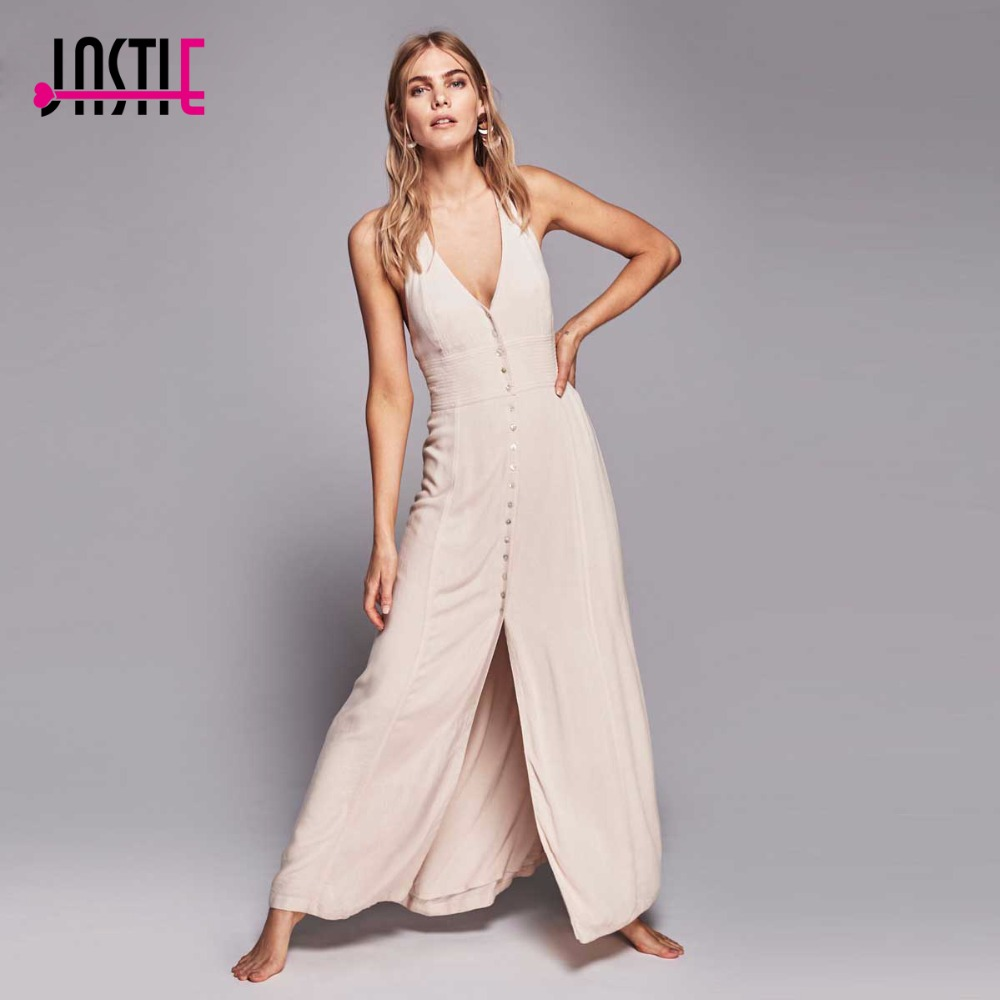 Jastie Summer Crinkly Maxi Dress Backless Sexy Dress Button Closures in  Front with Slit Long Dresses Boho Beach Vestidos 8256 5543789ac
