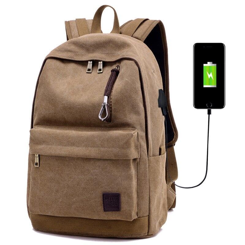 Men s Canvas Backpack font b External b font font b USB b font font b