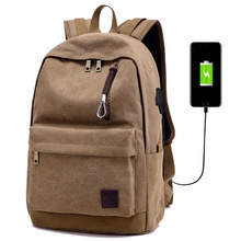 Males's Canvas Backpack Exterior USB Charging Interface Earphone Gap Backpack Faculty Baggage for Youngsters Pupil Classic Backpacks