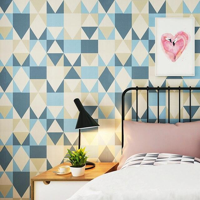 Modern Blue Geometric Triangle Wallpaper Roll Diamond Mediterranean Papel De Parede Bedroom Nordic Living Room