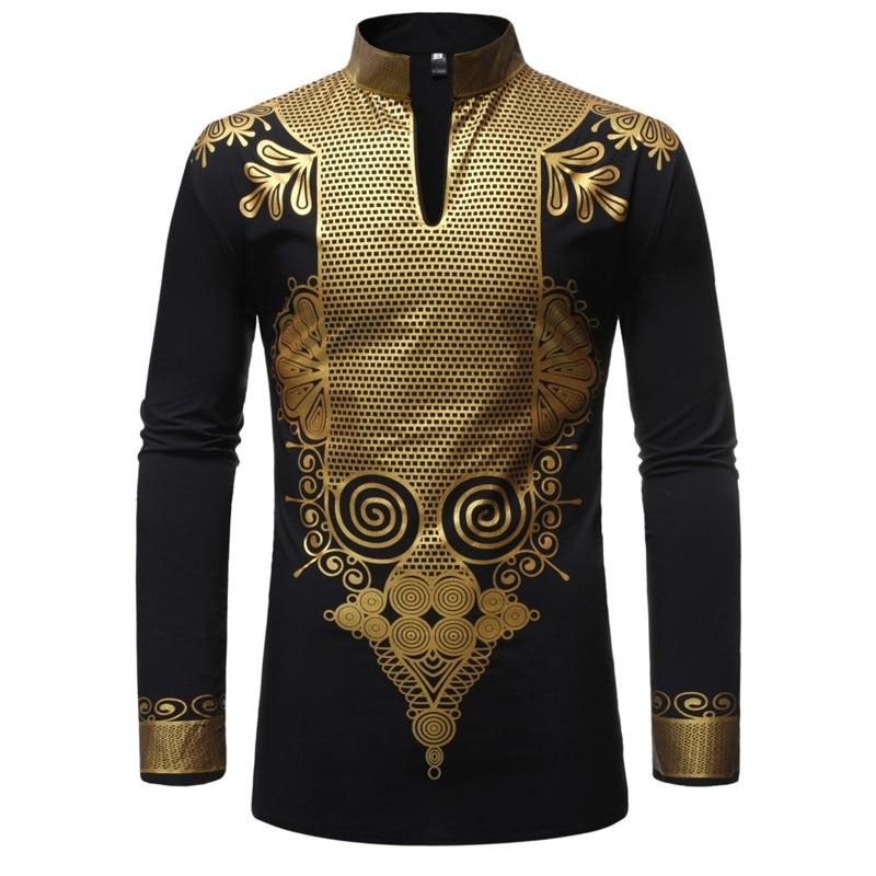 Black African Dashiki Print Shirt Men 2019 Fashion Hip Hop Streetwear Afrian Clothes Men Slim Fit Long Sleeve Shirt Male Chemise(China)