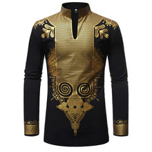 Black African Dashiki Print Shirt Men 2019 Fashion Hip Hop Streetwear Afrian Clothes Men Slim Fit Long Sleeve Shirt Male Chemise(China)