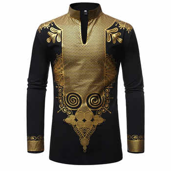 Black African Dashiki Print Shirt Men 2019 Fashion Hip Hop Streetwear Afrian Clothes Men Slim Fit Long Sleeve Shirt Male Chemise - DISCOUNT ITEM  51% OFF All Category