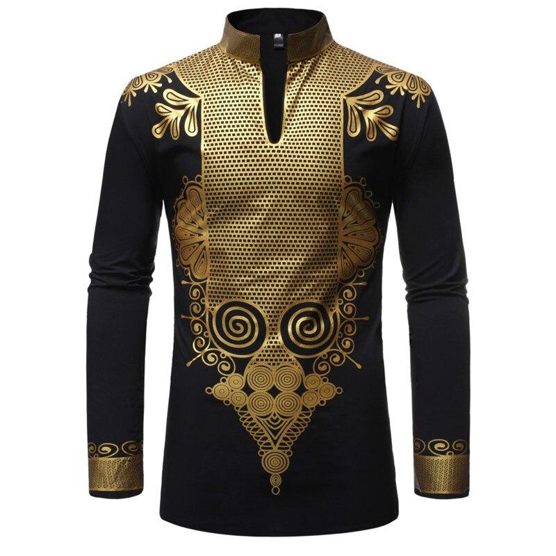 Schwarz African Dashiki Drucken Hemd Männer 2019 Mode Hip Hop Streetwear Afrian Kleidung Männer Slim Fit Langarm Hemd Männlich chemise