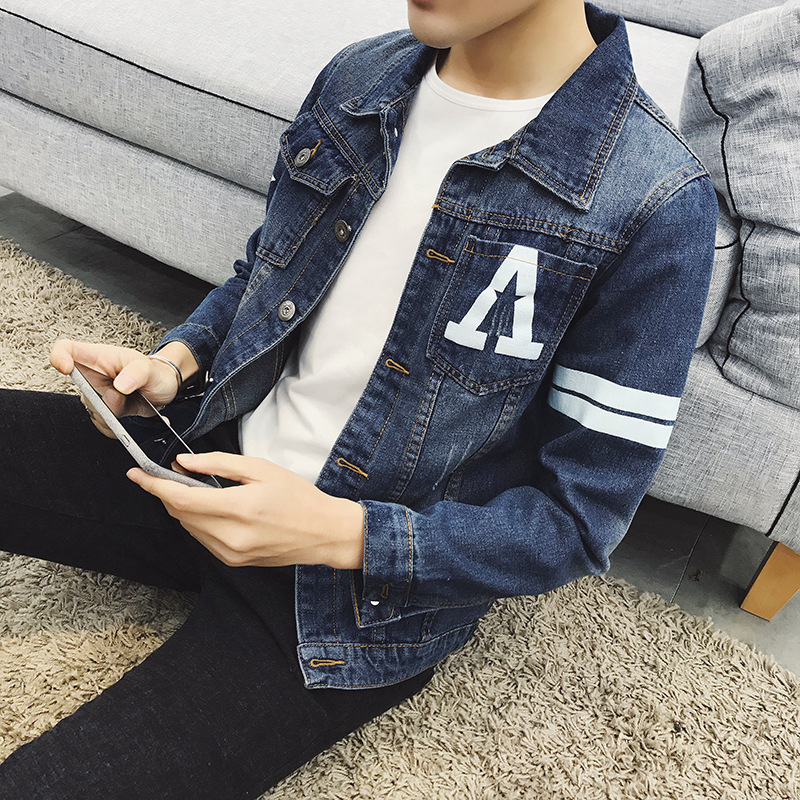 02685a19f785 Fashion 2019 Spring Autumn Casual Printed man Stretch Blue Denim jacket  Teenagers Slim Fit clothes Men's Leisure Cowboy coat-in Trench from Men's  Clothing ...