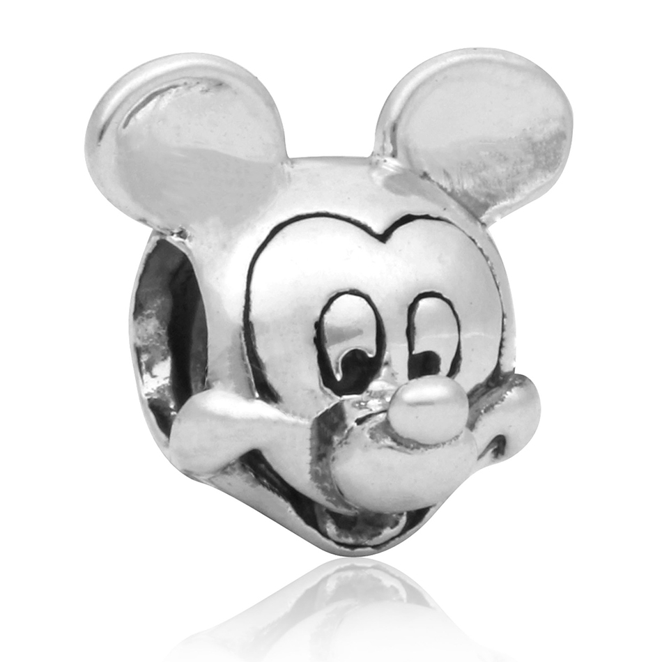 Silver Plated Mickey & Minnie Cartoon Mouse Panda With Crystal Animal Bead Charm Fit Pandora Bracelet Bangle DIY Jewelry Marking