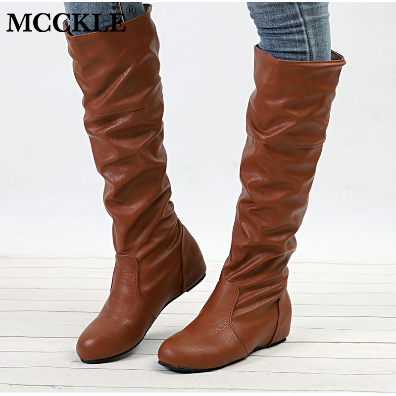 MCCKLE Plus Size Women Flat Height Increasing Mid Calf Boots Female Slip On Pleated Shoes Ladies High Top Footwear plus keyhole pleated neck lace panel top