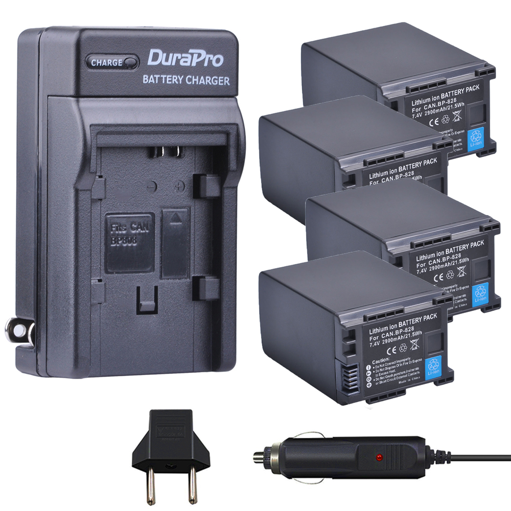 4pcs BP-828 BP 828 BP828 Li-ion Battery + Car Charger + EU plug for Canon  HFM300 HFM30 HFG30 HFG10 HFM40 HFM400 HFS30 HF20 HG20 bp828 replacement 7 4v 2920mah li ion battery for canon xa25 xa20 hfg30 black