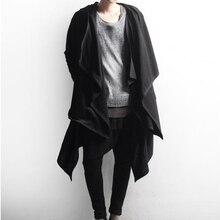 Homem gótico do punk hip hop hoodie irregular design longo manto japonês streetwear masculino nightclub cantor estágio cardigan traje 6xl