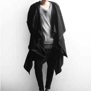 Image 1 - Men gothic punk hip hop hoodie irregular design long cloak japanese streetwear men nightclub singer stage cardigan costume 6XL