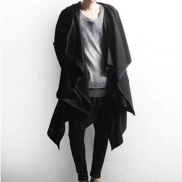 Men gothic punk hip hop hoodie irregular design long cloak japanese streetwear men nightclub singer stage cardigan costume 6XL