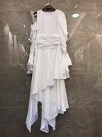2019 Новая мода Женская одежда личность нерегулярные платье с оборками 318