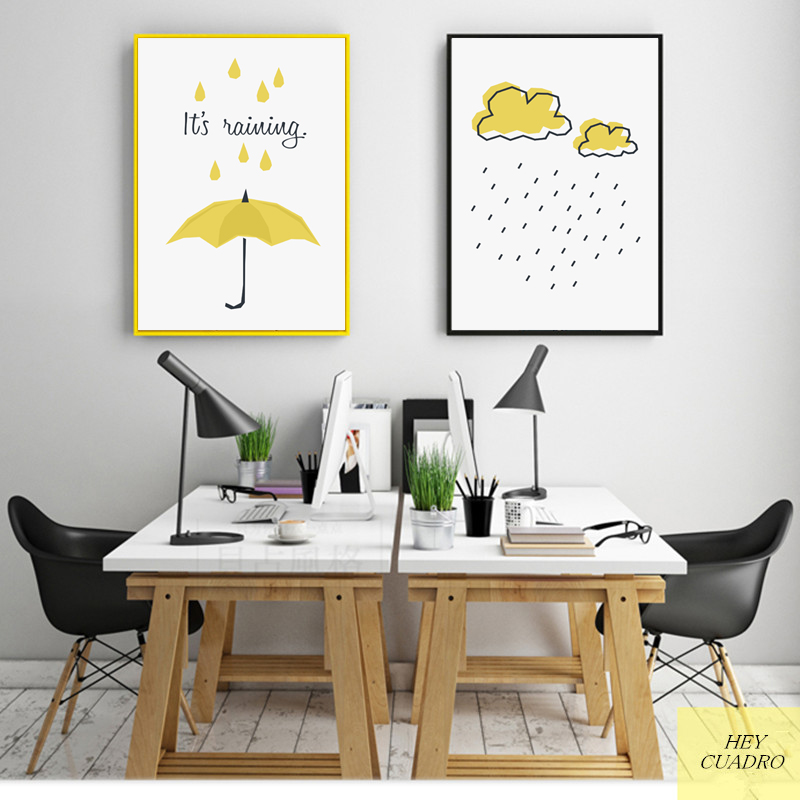 Cartoon Dining Room: HEYCUADRO Cartoon Yellow Umbrella Wall Poster Prints