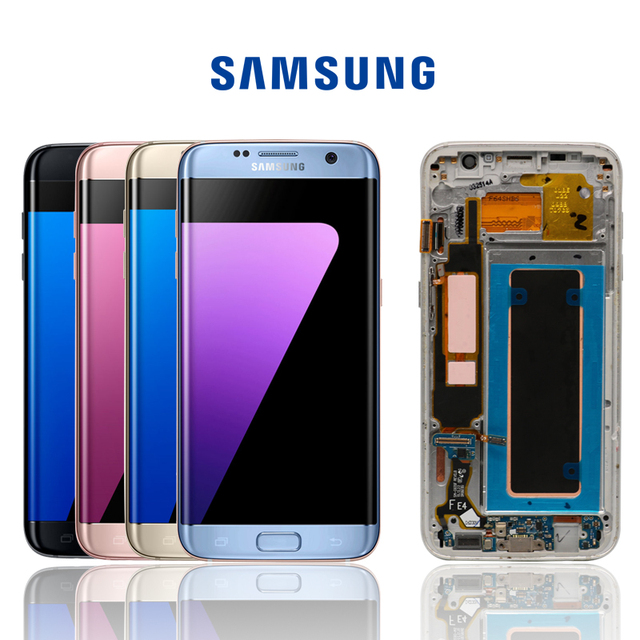 100% Original Super AMOLED LCD reemplazo para Samsung S7 Edge G935F G935A G9350 LCD digitalizador pantalla táctil con pantalla de Marco