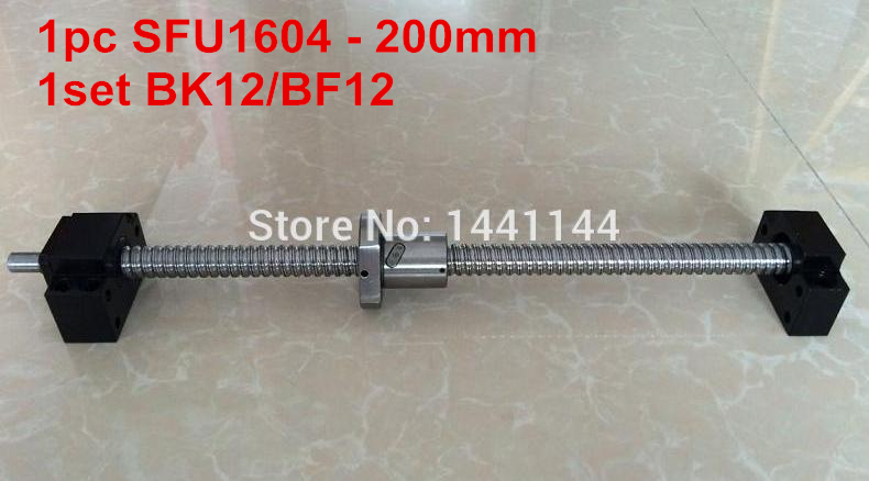 1pc SFU1604 - 200mm Ball screw  with  BK12/BF12 end machined + 1set  BK12/BF12 Support CNC part sfu1604 1400mm ball screw set 1 pc ball screw rm1604 1400mm 1pc sfu1604 ball nut cnc part standard end machined for bk bf12