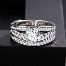 2pc Set Ring AA Top White Zircon Crystal Couple Women Wedding Rings Silver Jewellery Bridal Wholesale Lots Bulk