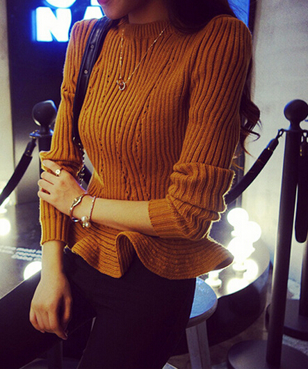Free Shipping High Quality Autumn New Arrival Stand Collar Lotus Leaf Collect Waist Pure Color Woman Sweater