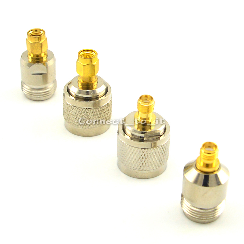 Nickel & Vergoldet SMA-N Adapter Kit RF SMA auf N 4 Typ Hf-steckverbinder N Stecker/Buchse auf SMA Female/Male