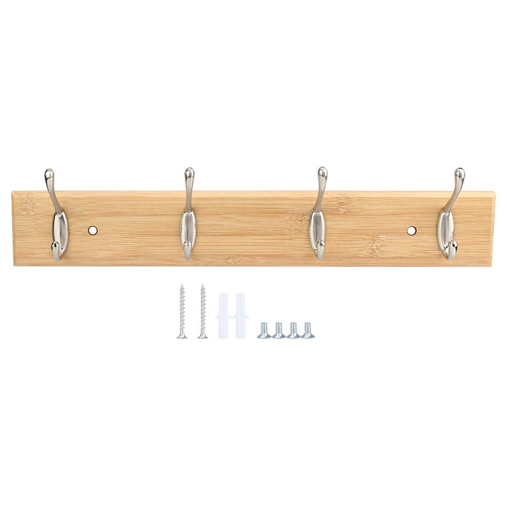 Wooden Wall Mounted Coat Towel Hat Rack Rail Holder 5 Metal Hooks Bathroom Shelf