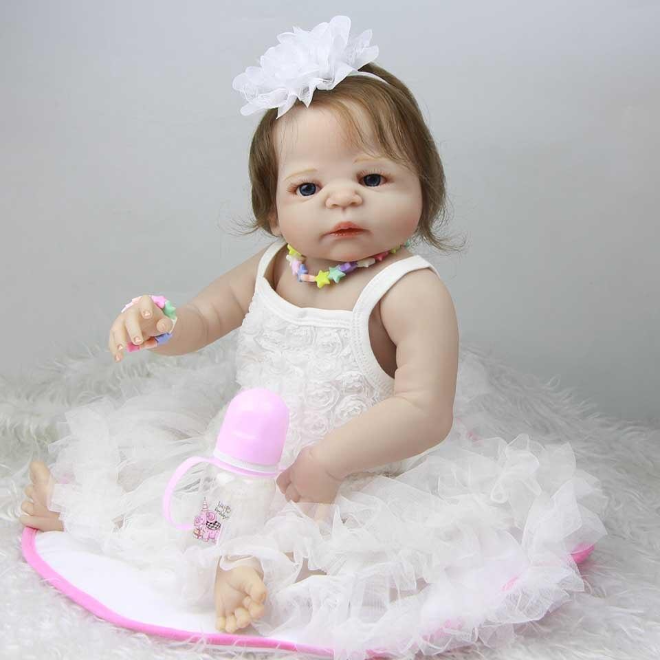Handmade Silicone Reborn Baby Doll Realistic 23 Inch Baby Girl Full Vinyl Body Dolls Waterproof Lifelike Bebe Reborn Xmas Gifts