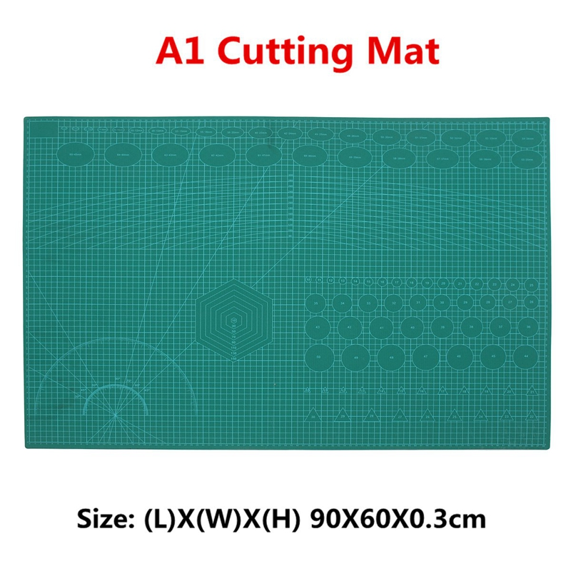 A1 Cutting Mat Self Healing Craft 2 Sided Metric Imperial Printed Grid Lines cm