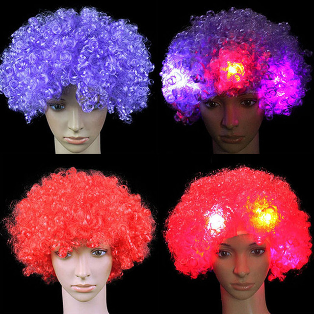 LED Light-Up Flashing Curly Hair Wig Clown Funny Football Fans Wigs Dress  Props Purim Carnival Festival 9cc363a36