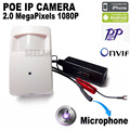 1080 p poe mini cámara ip pir motion detector hqcam cámara pir estilo mini cam Cámara DEL CCTV Encubierta para Power Over Ethernet poe