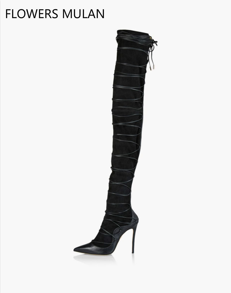 winter women over the knee black boots lady cut out cross tied thin high heel fashion boot fashion magazine street women's boots