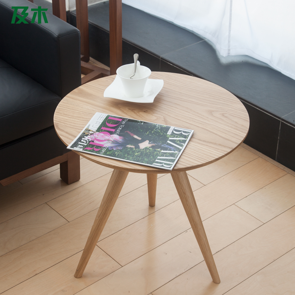 And Wood Furniture Creative Modern Minimalist Scandinavian Solid Side Table White Oak Round Coffee Small Apartment Cj In Tables From