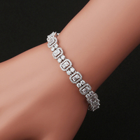 2017 New Fashion AAA Zirconia Full Crystal Bracelet Double Row Silver Plated Woman Jewelry