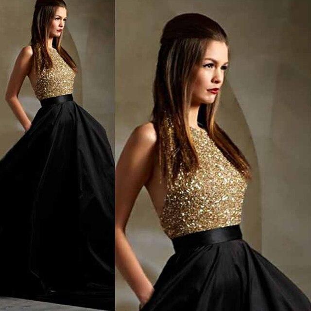 2017 Latest Black Satin Long Prom Dress Plus Size Gold Beaded ...