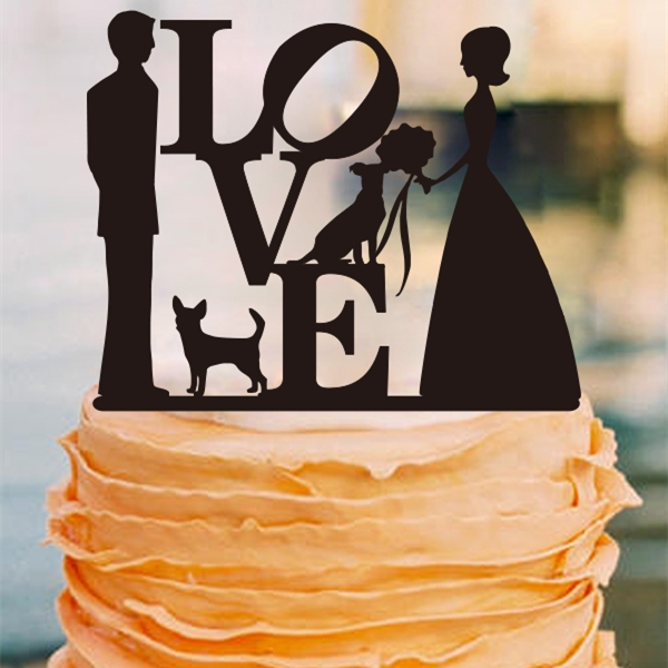 Love Wedding Cake Topper Bride and Groom Couple Silhouette     Love Wedding Cake Topper Bride and Groom Couple Silhouette Anniversary Cake  Topper with Dog Engagement Cake Topper Wedding Decor in Cake Decorating  Supplies