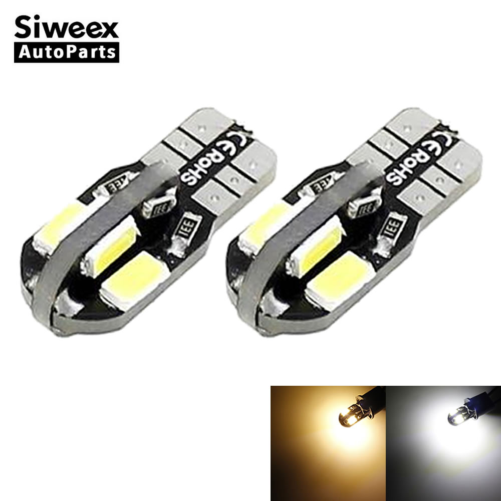2 X Canbus Error Free T10 White Warm White 8 5730 SMD LED Car Side Wedge Light Lamp W5W Bulb 12V Instrument Panel Lamp 10pcs led car interior bulb canbus error free t10 white 5730 8smd led 12v car side wedge light white lamp auto bulb car styling