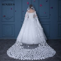 Ivory Wedding Veils With Flowers Fairy Long Bridal Veils 4m Cathedral Veil mariage voile WV091