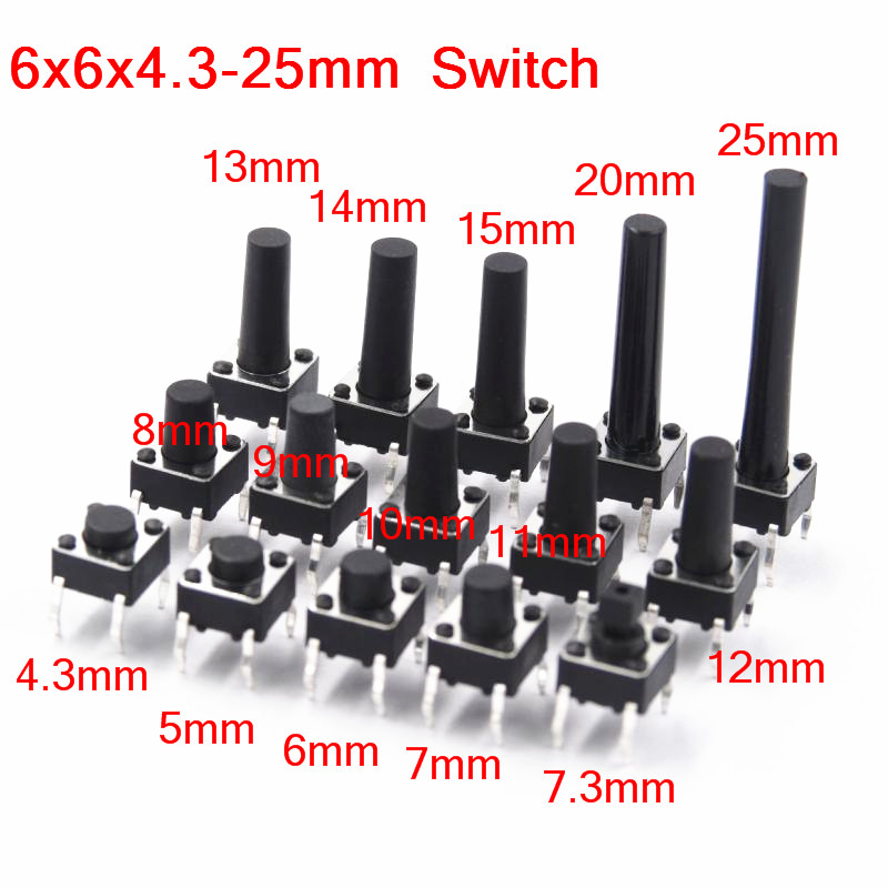 6x6mm Panel PCB Momentary Tactile Tact Mini Push Button Switch DIP 4pin 6x6x4.3/5/6/7.3-25 MM 6*6*4.3MM 5MM 6MM 7MM 8MM - 25MM