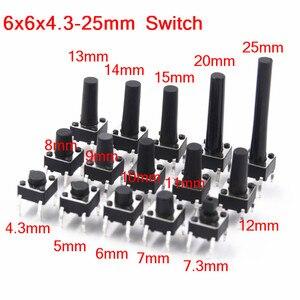 6x6mm Panel PCB Momentary Tactile Tact Mini Push Button Switch DIP 4pin 6x6x4.3/5/6/7.3-25 MM 6*6*4.3MM 5MM 6MM 7MM 8MM - 25MM(China)