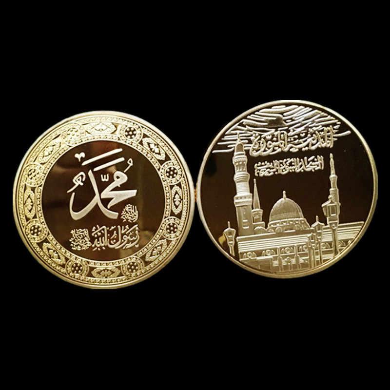 """1 יחידות את מסגד כיפת ערב הערבית השני תג רוק סטון כיפת 24 K האמיתי מצופה זהב 40 מ""""מ מזכרות מטבע"""
