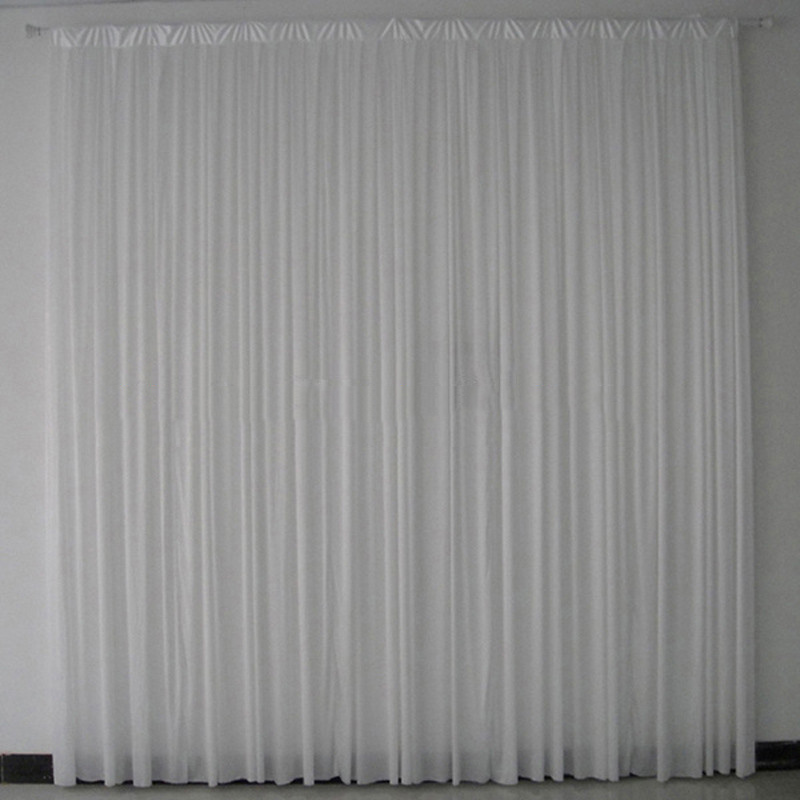 2PCS lot 3x3 m white pleated ice silk wedding backdrop drapes curtain stage decor wedding suppliers