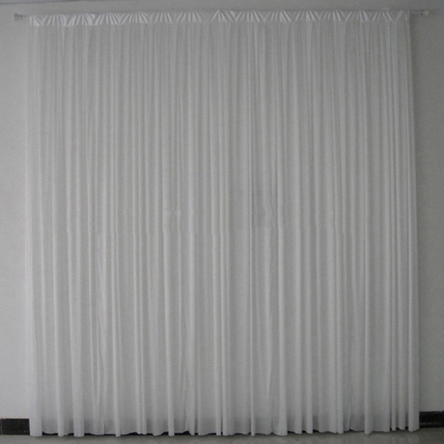 2PCS Lot 3x3 M White Pleated Ice Silk Wedding Backdrop Drapes Curtain Stage Decor