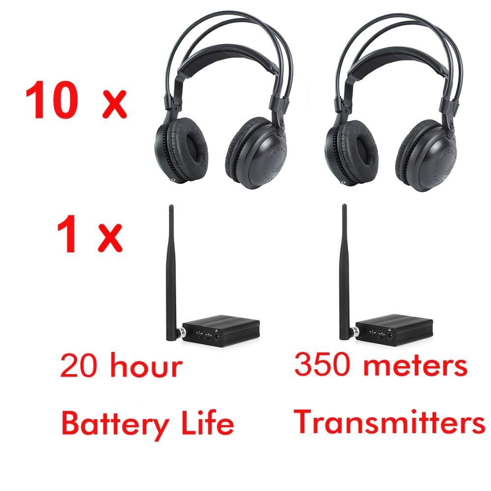 500 m RF forte basse classique silencieux disco casque paquet (10 écouteurs et 1 émetteur)
