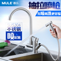 304 Stainless Steel Hot And Cold Kitchen Pull Type With Spray Gun Faucet Dish Basin Telescopic