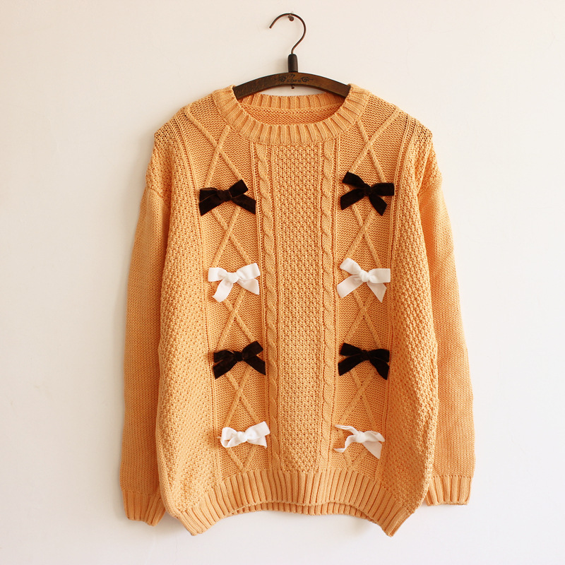 2016 New Bow tie decoration Women's sweaters Waves knitting beige ...