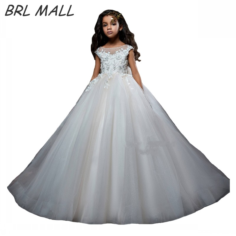 2019 Cute Cap Short Sleeves   Flower     girl     Dresses   with Bow Ball Gown Lace Appliques pageant   dresses   for   girls   vestido de daminha